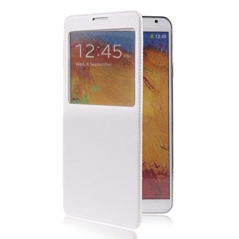 Microsonic View Cover Delux Kapaklı Kılıf Galaxy Note3 N9000 Beyaz Renkli